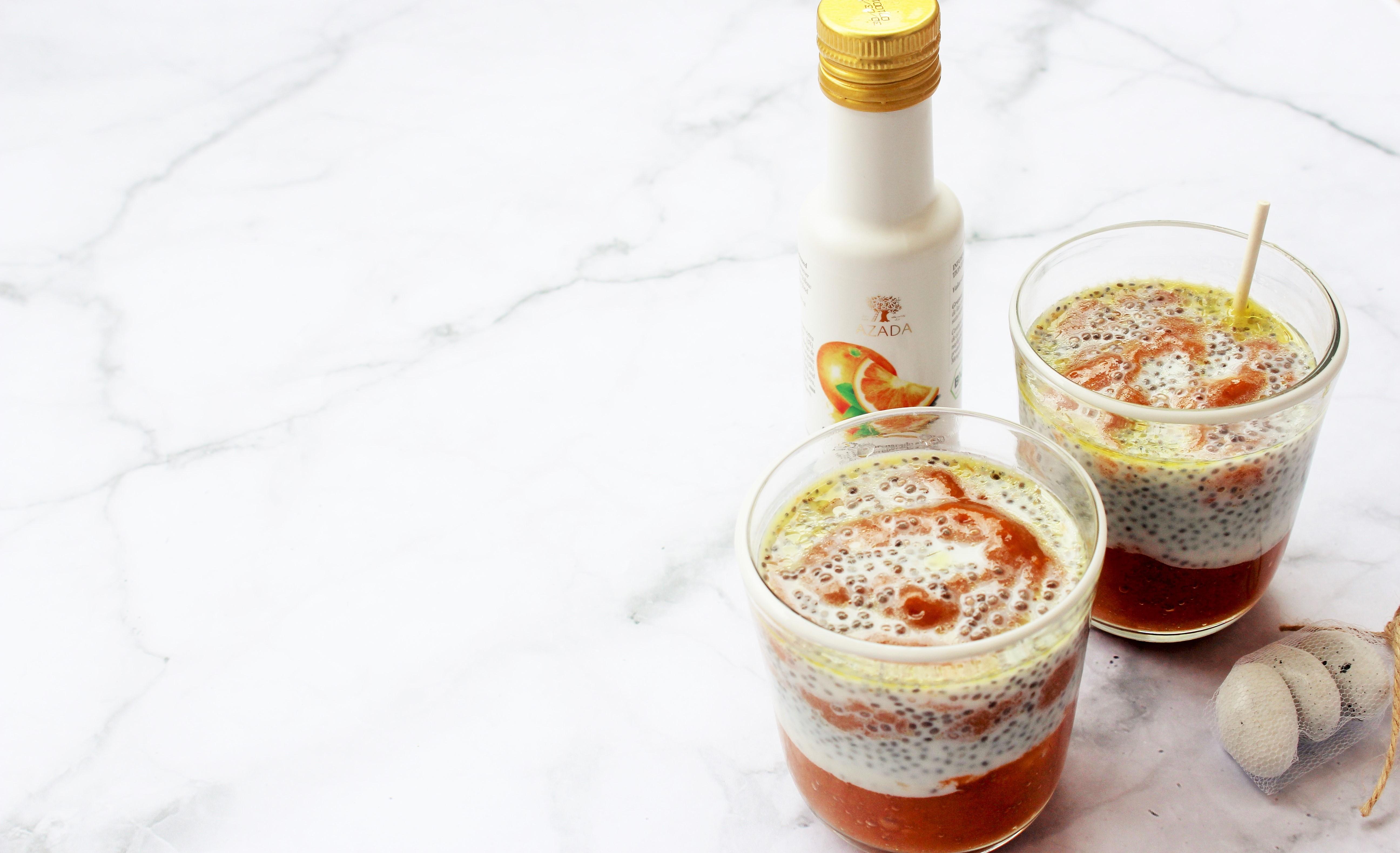 Gesunder Mango & Pfirsich Chiapudding
