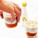 Gesunder Mango & Pfirsich Chiapudding mit Azada Olivenöl und Orange